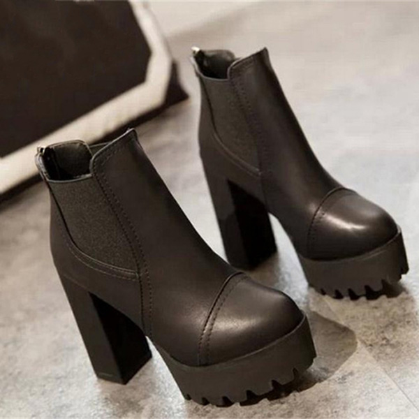 Women High Heel Ankle Boots Heavy-bottomed Boots Zipper Platform Boots