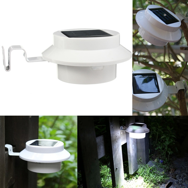 Outdoor 4 LED Solar Powered Garden Wall Yard Fence Light Gutter Security Lamp With OFF/ON Switch