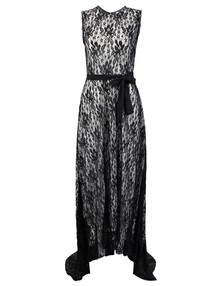 Sexy Lace Sleeveless Maxi Evening Cocktail Dress For Women With Belt