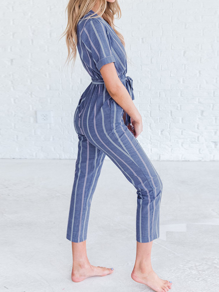 Short Sleeve Stripe Belt Overalls Jumpsuits