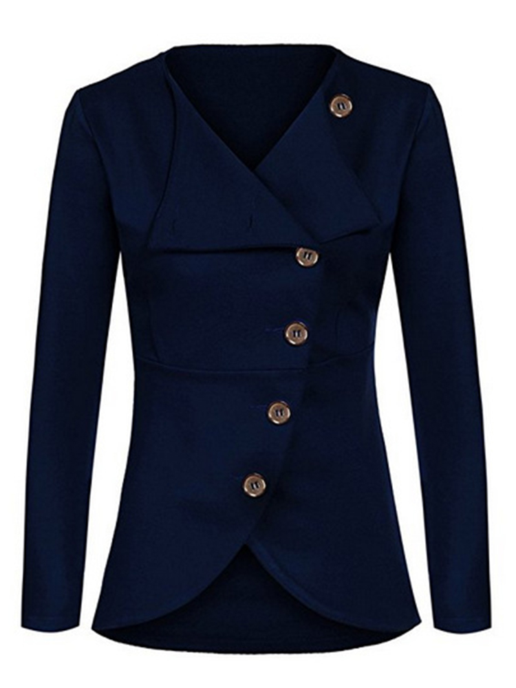 Casual Solid Long Sleeve Button Slim Women Suit Jacket