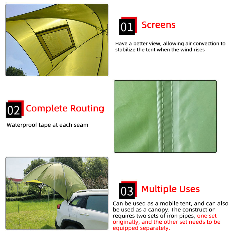 LADUTA 3-4Person Car-Tent Roof Top Tent Camper Canopy Awning Sun Shelter