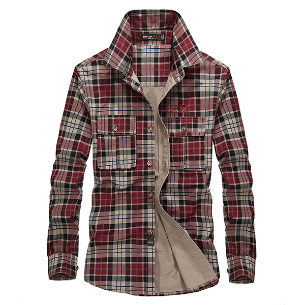 Mens Spring Autumn Plaid Printing Long Sleeve Cotton Outdoor Casual Shirt