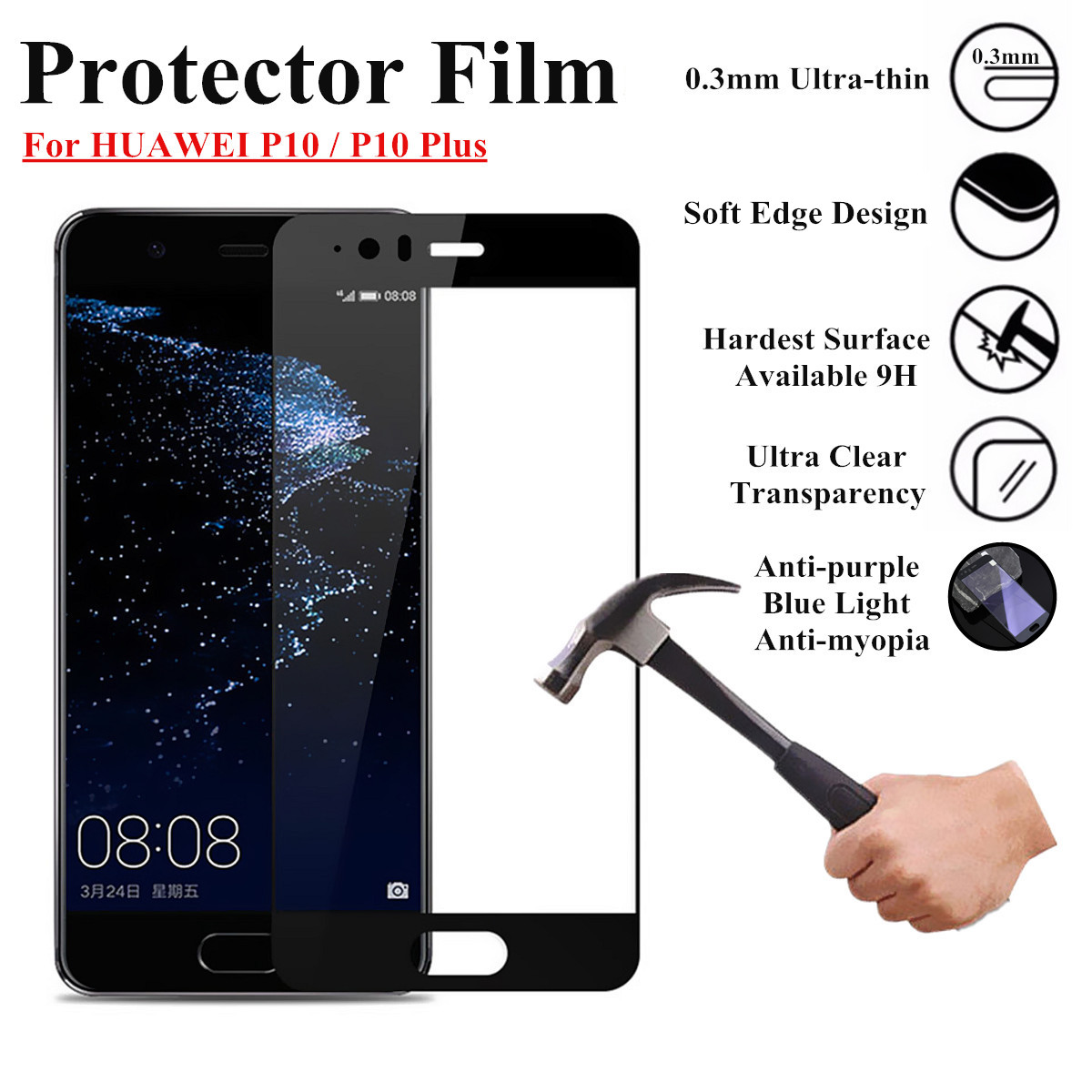 9H Full Anti Blue Ray Full Screen Tempered Glass Screen Protector For HUAWEI P10 / P10 Plus