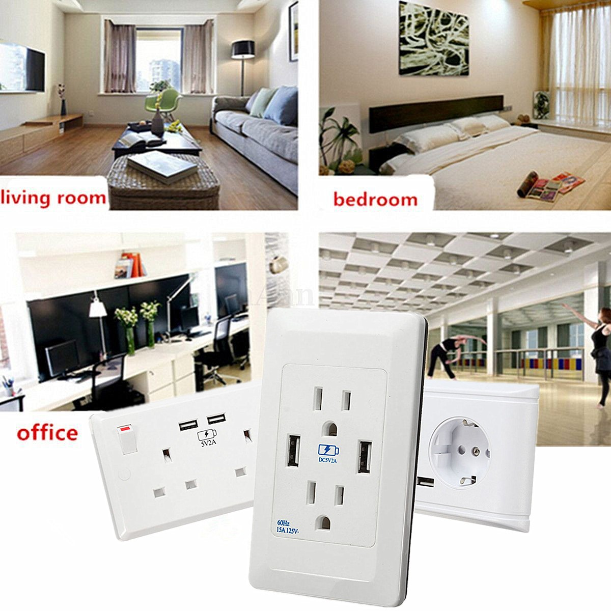 Double USB Socket White 13A 2Gang Electric Wall Plug Sockets With 2USB Outlet