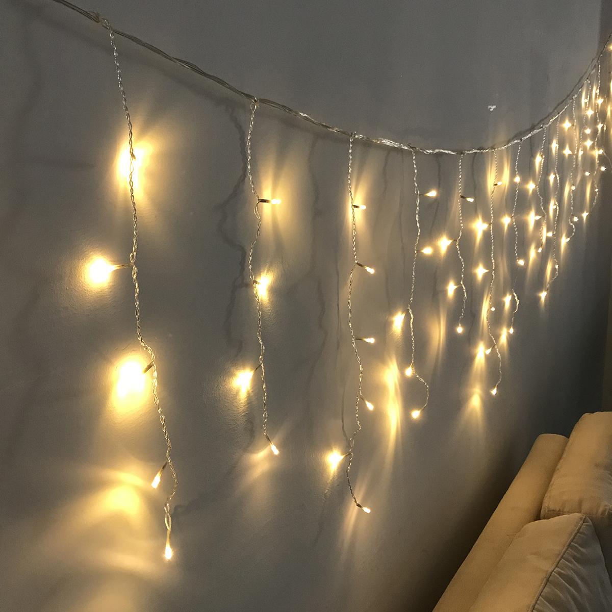 AC220V 2M*0.6M LED Curtain String Light Holiday Christmas Home Warm White Lamp US Plug