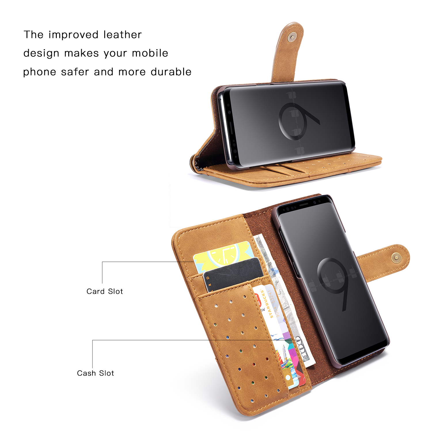 Bakeey Genuine Cowhide Leather Magnetic Flip Wallet Kickstand Protective Case For Samsung Galaxy S9/S9 Plus