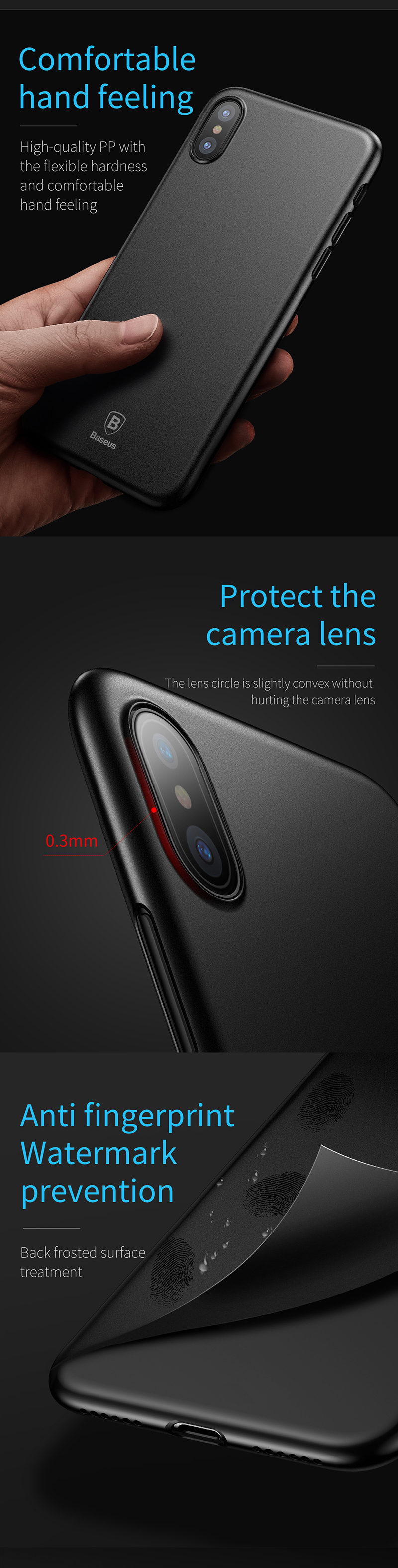 Baseus PP 0.45mm Ultra Thin Anti Fingerprint Case Cover for iPhone X