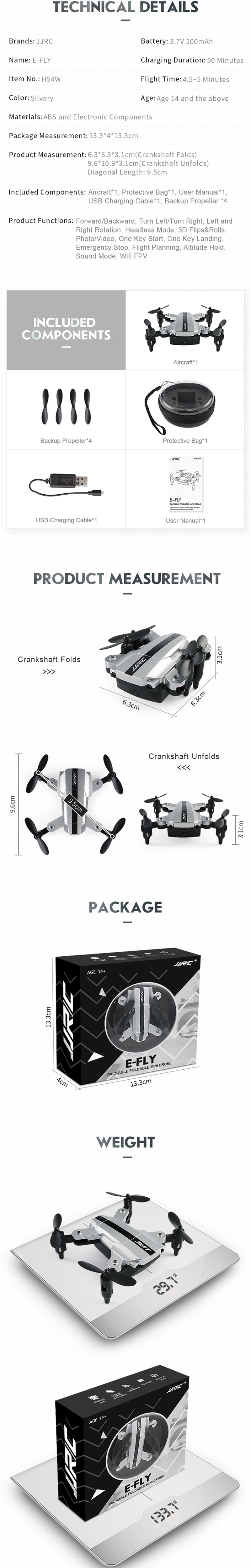JJRC H54W E-Fly WiFi FPV Mini Foldable Drone With 480P Camera Altitude Hold Mode RC Quadcopter BNF