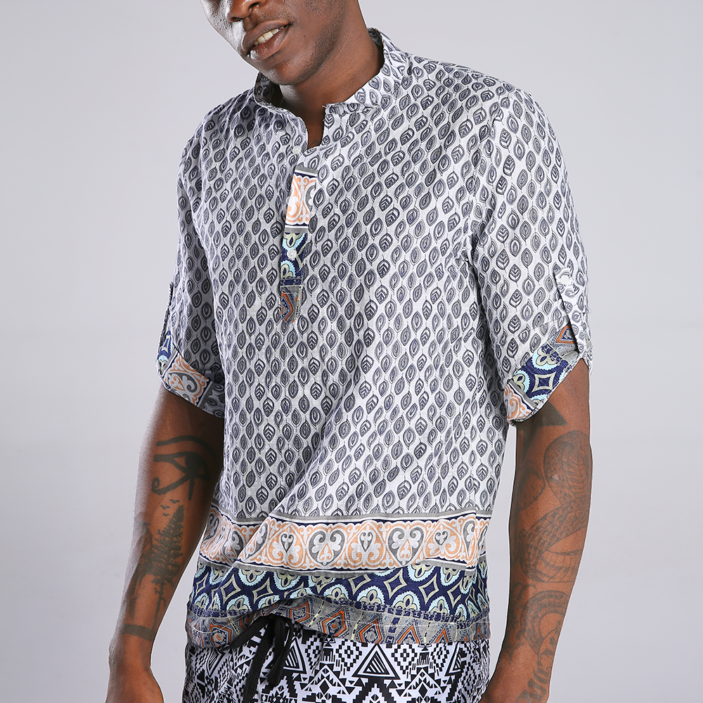 Mens Ethnic Style Printed Half Sleeve Loose Casual T-shirts