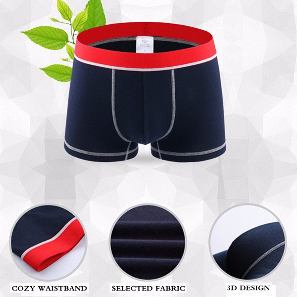 Men Contrast Color U Convex Soft Skin-friendly Cotton Underwear Boxers