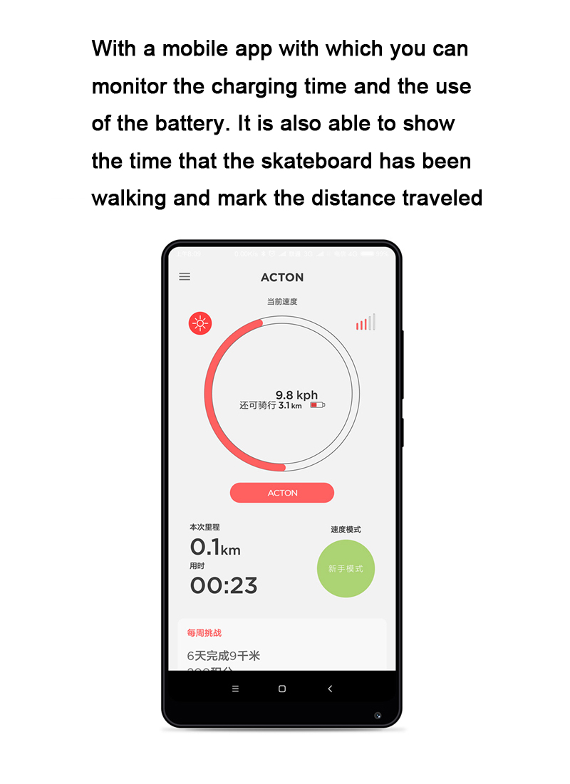 XIAOMI ACTON BLINK S 500W Electric Skateboard Intelligent Remote Control Load 100kg With LED Light