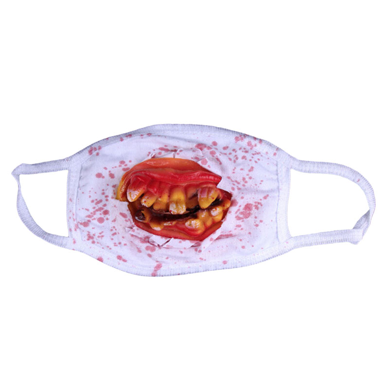 Halloween Horror Teeth Funny Performance Half Face Mask Hungry To Seek