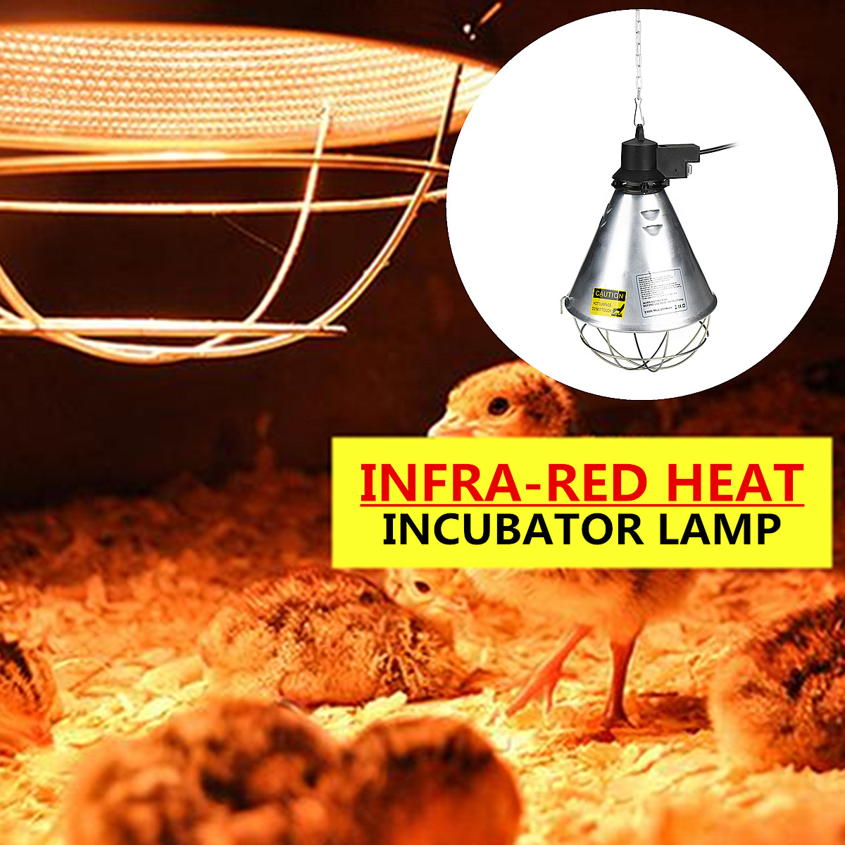 AC240V 250W E27 Poultry Heat Incubator Lamp With Transparent / Red Light Bulb for Chicks Puppies