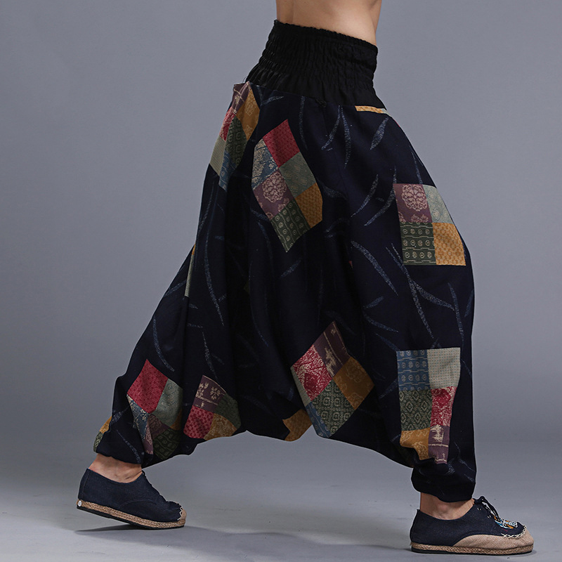 Men's Ethnic Style Printed Loose Wide Leg Pants