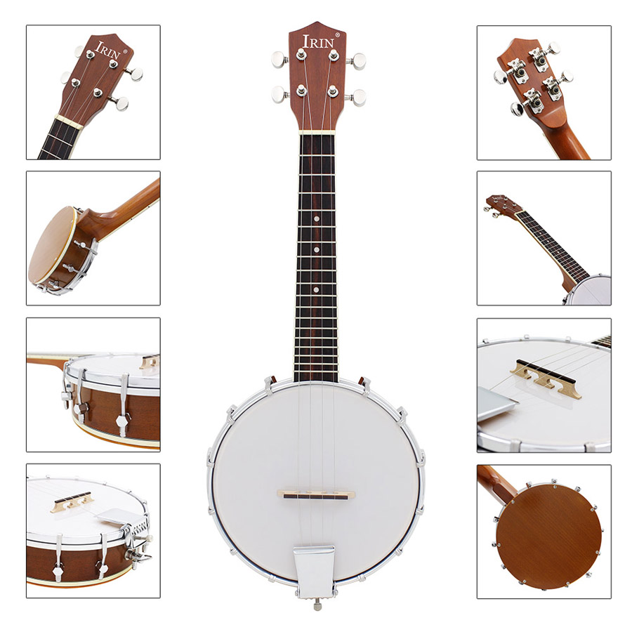 Clearance IRIN Banjo Four Strings Sapelli Banjo Exquisite Professional Banjolele