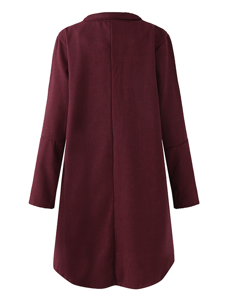 Solid Color Irregular Woolen Coat