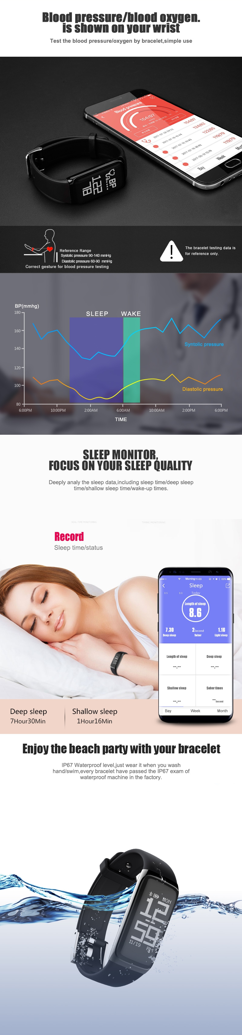 BY21 Blood Oxygen Pressure Heart Rate Sleep Monitor Smart Watch Bracelet for iPhone Android iOS