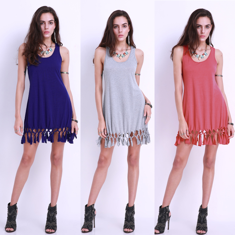 Sexy Women Crew Neck Sleeveless Knotted Tassels Summer Beach Mini Dress