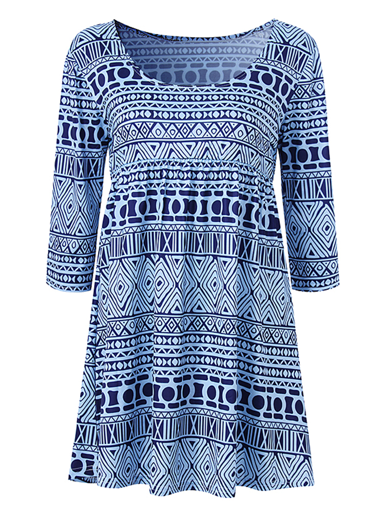Blue Women Casual 3/4 Sleeve Geometric Printing Mini Dresses