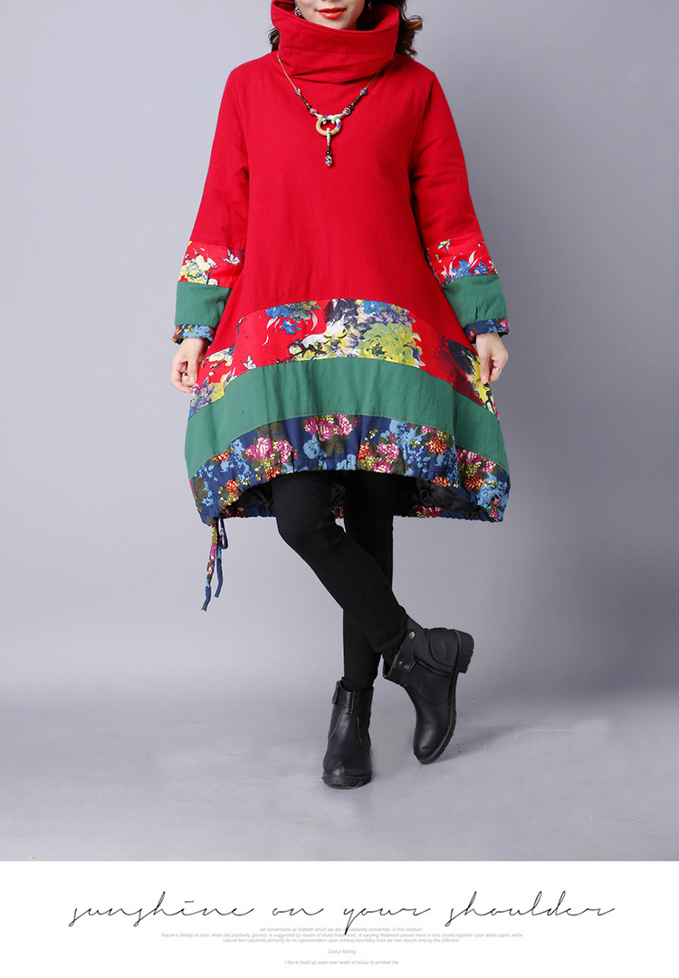 Vintage Floral Patchwork Long Sleeve Turtleneck Loose Women Dress