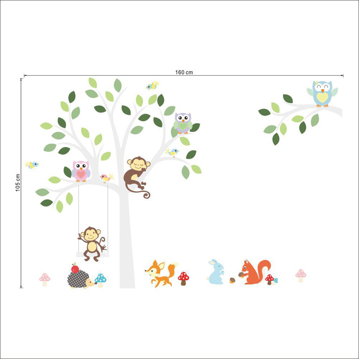 Nursery Baby Kids Room Decor Jungle Animal Owls Monkey Tree Wall Stickers Decoration