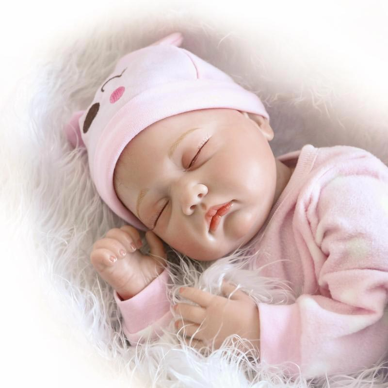 NPK 22inch Reborn Baby Doll Silicone Lifelike Girl Doll Realistic Play House Toy