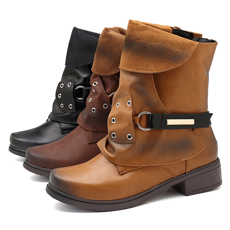 Women Plus Size Round Toe Pleated Buckle Boots