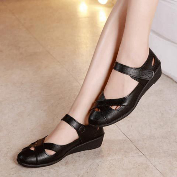 Women Hollow Out Comfy Hook Loop Flats