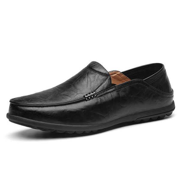 Big Size Leather Comfortable Driving Loafers Flats