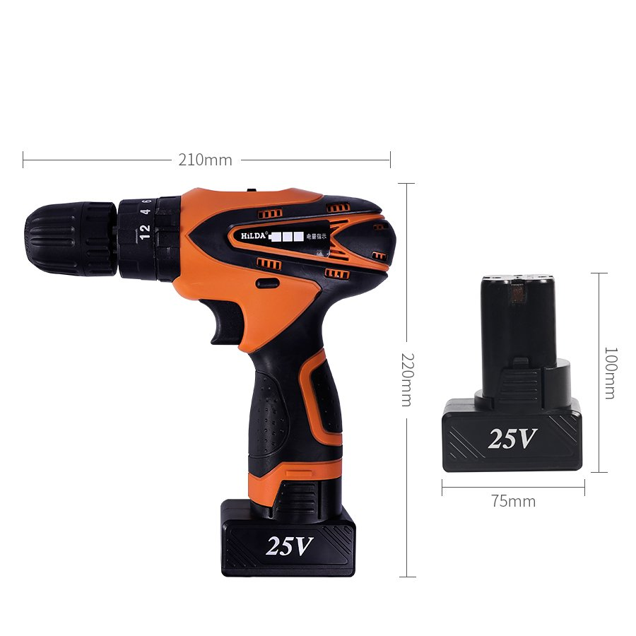 HILDA DC 25V Cordless Electric Impact Drill Lithium Battery Electric Drill Power Drills