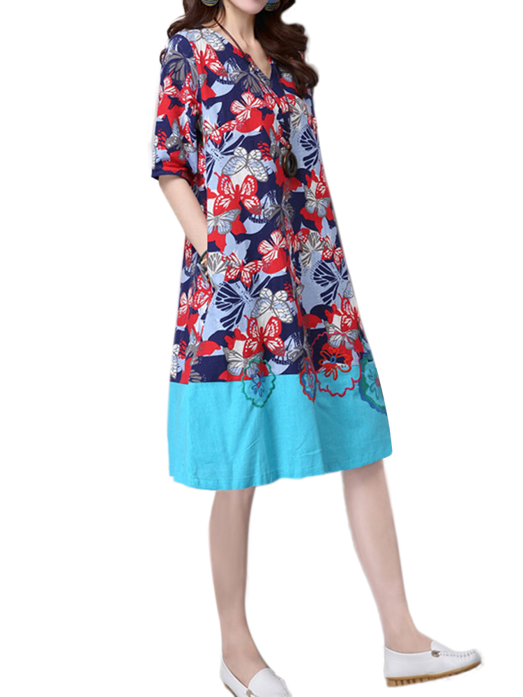 Embroidery Printed Linen Dress