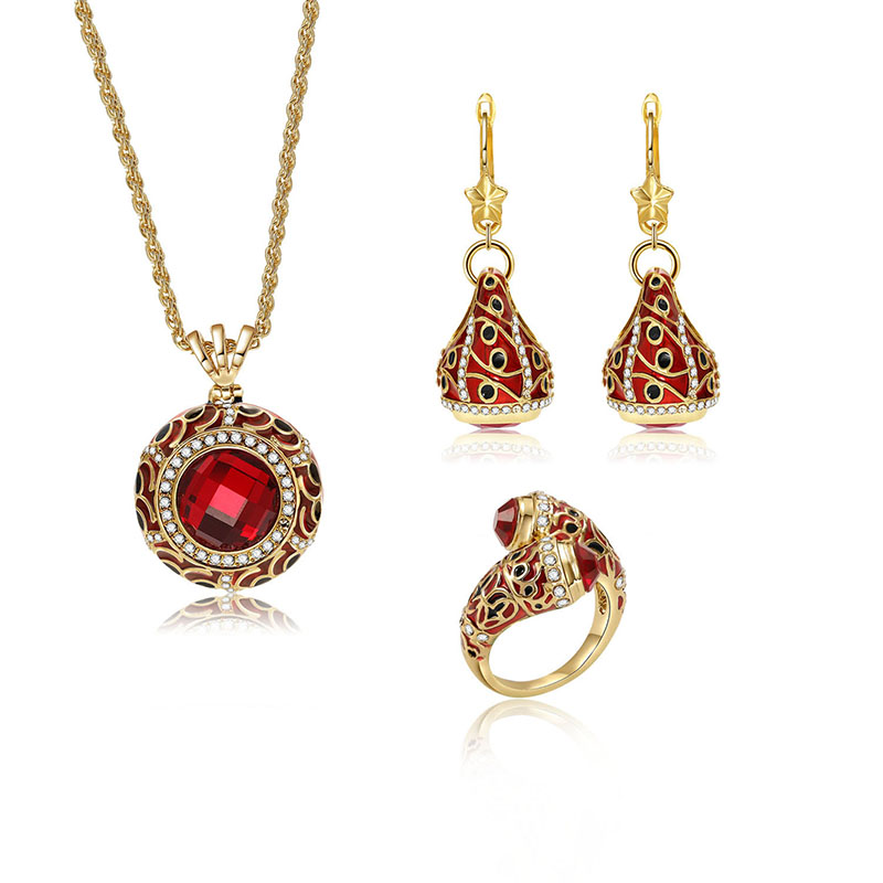 Luxury Red Crystal Statement Ring Charm Necklaces Star