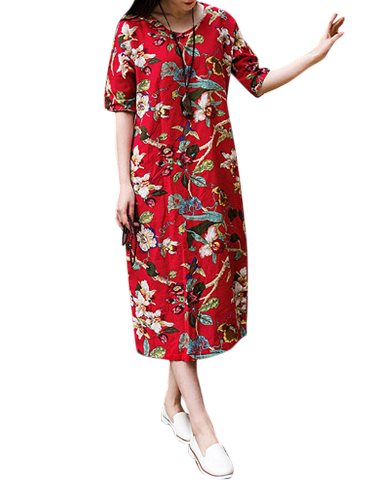 Flower Printed Short Sleeve Loose Vintage Women Dresses