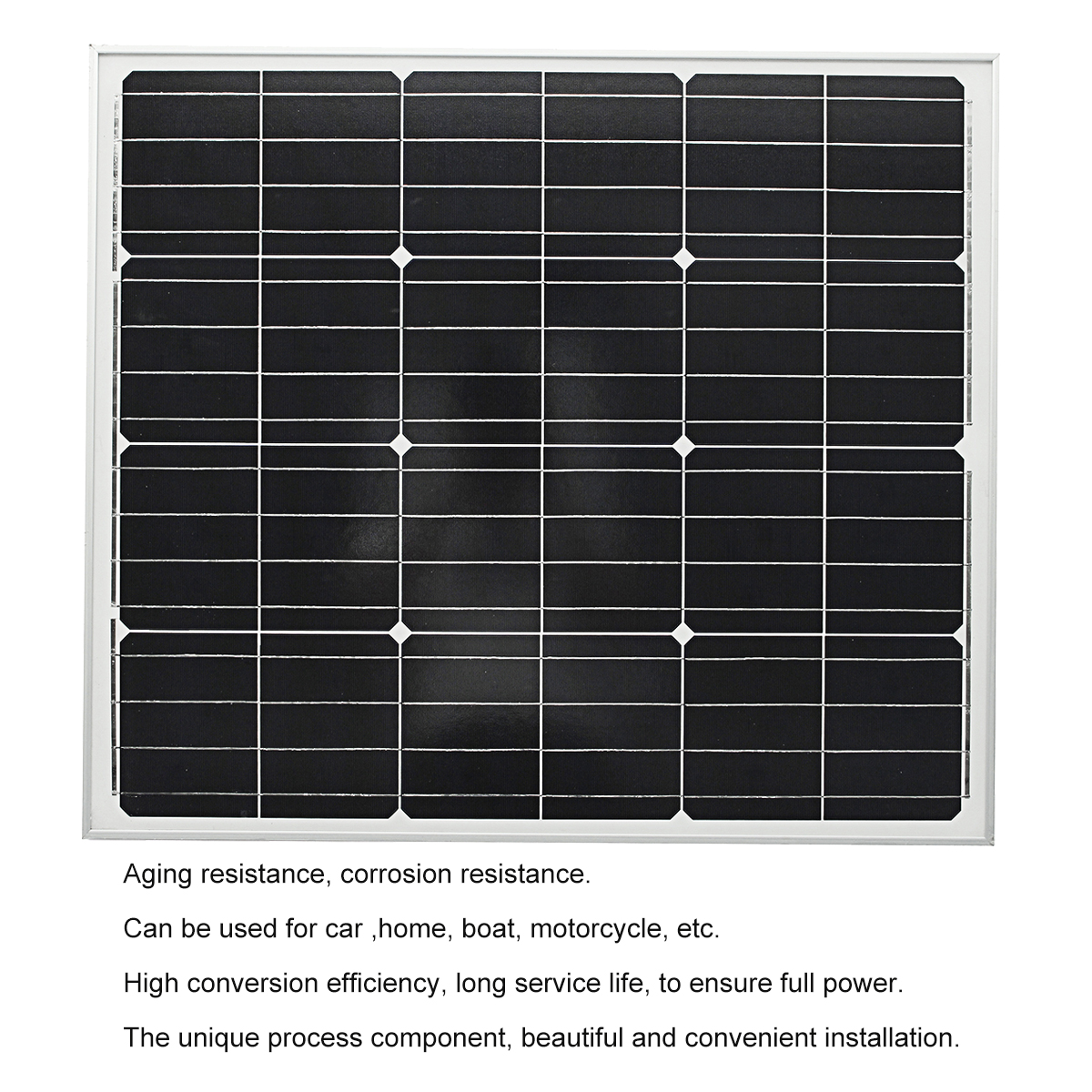 Elfeland® M-80A 12V 80W 765x670x30mm Solar Panel With Junction Box For Mono Home Generator Camping Power Charging