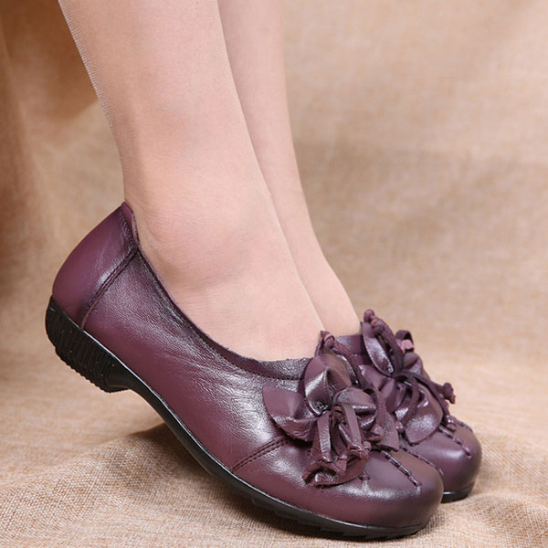 SOCOFY Genuine Leather Floral Flats Shoes