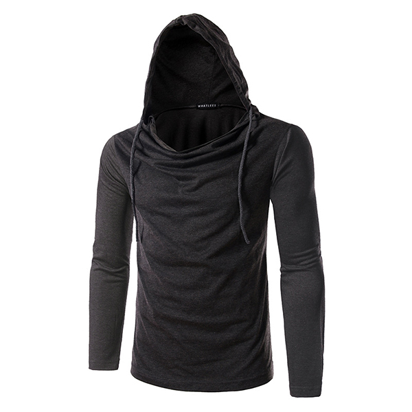 FasFashion Personality Hoodies T-shirts Mens Casual Solid Color Long Sleeved Sportswear