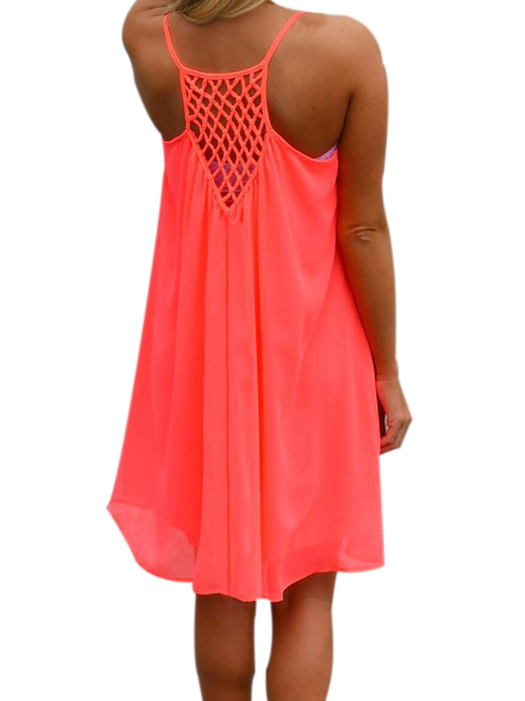 Sexy Women Strap Halter Backless Beach Chiffon Summer Mini Dress