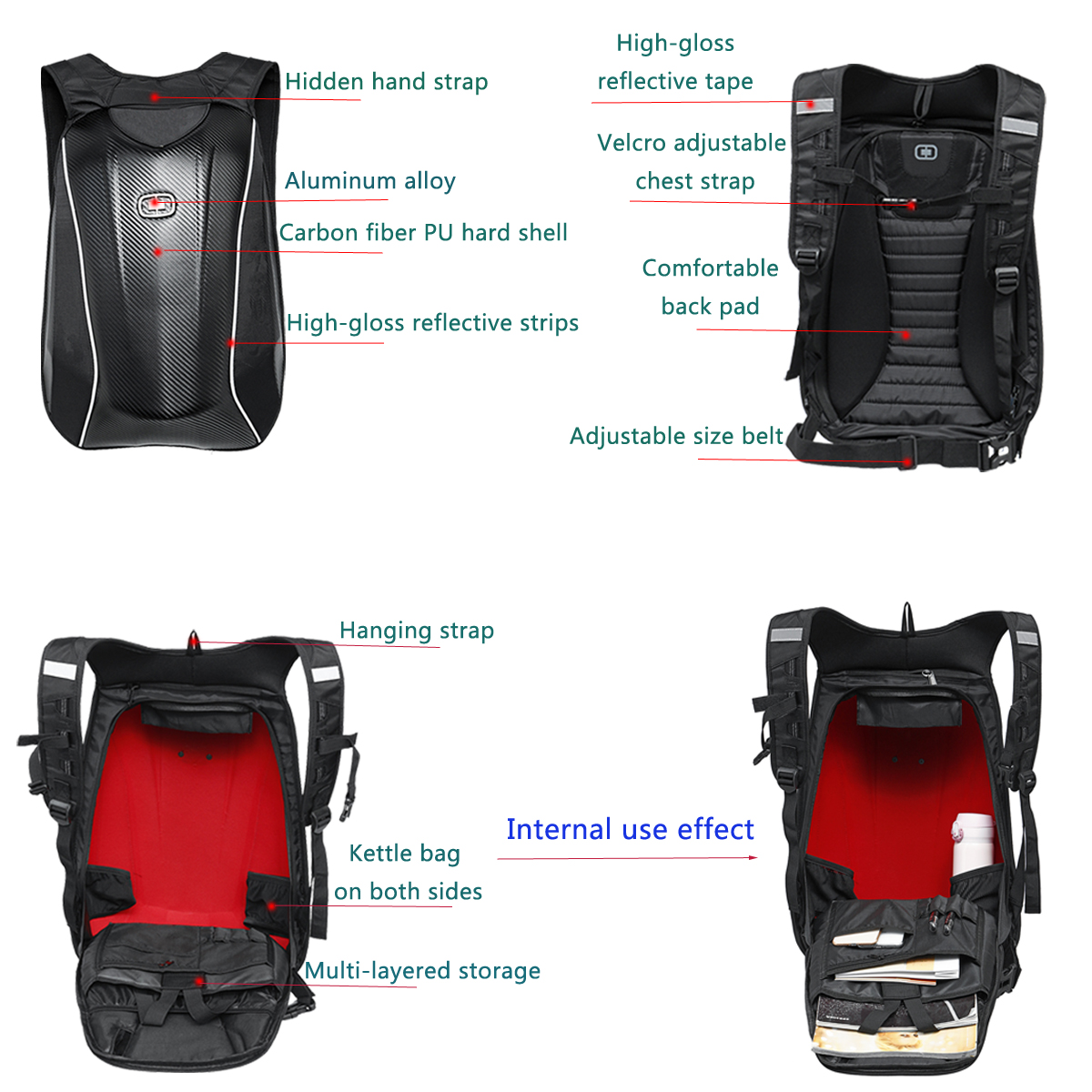 Motorcycle Backpack Carbon Fiber Motocross Riding Racing Storage Bag