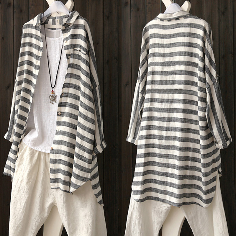 Women Long Sleeve Stripe Buttons Down Loose Cotton Blouses