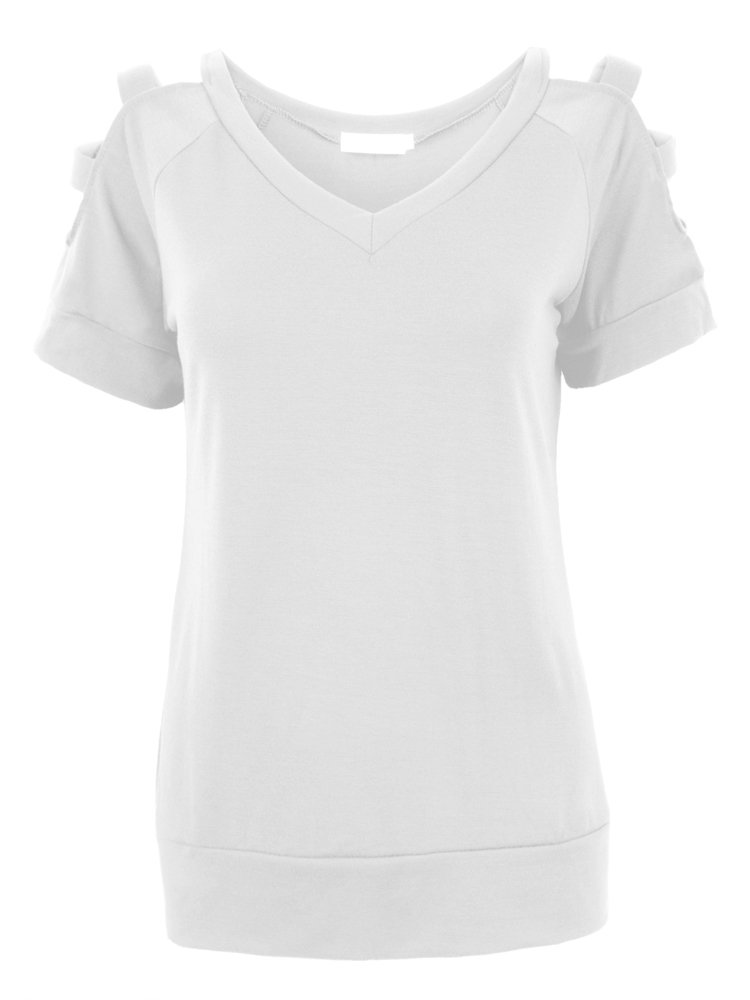 Casual Off Shoulder Hollow Out V Neck T-Shirt For Women