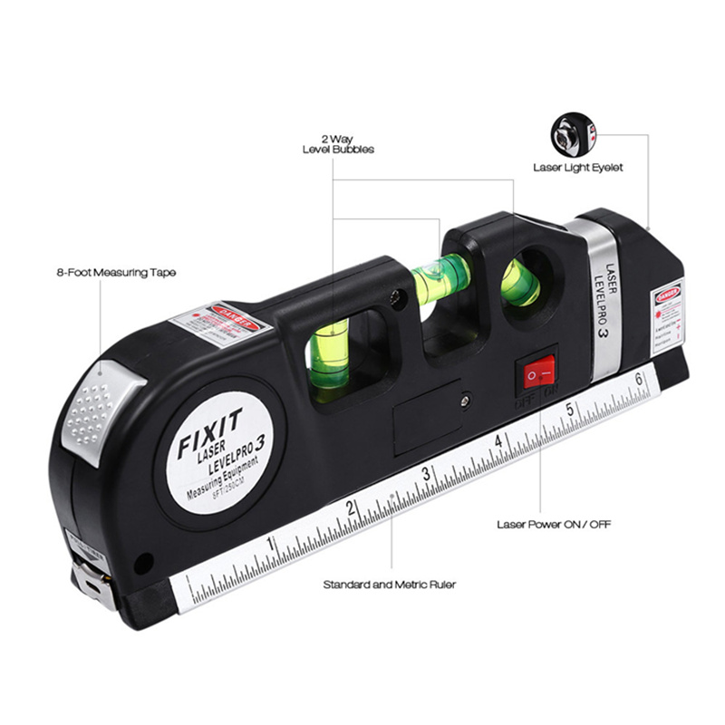 Loskii DX-013 Multipurpose Laser Level Horizontal Vertical Measure Tape Aligner Ruler 3 Bubbles
