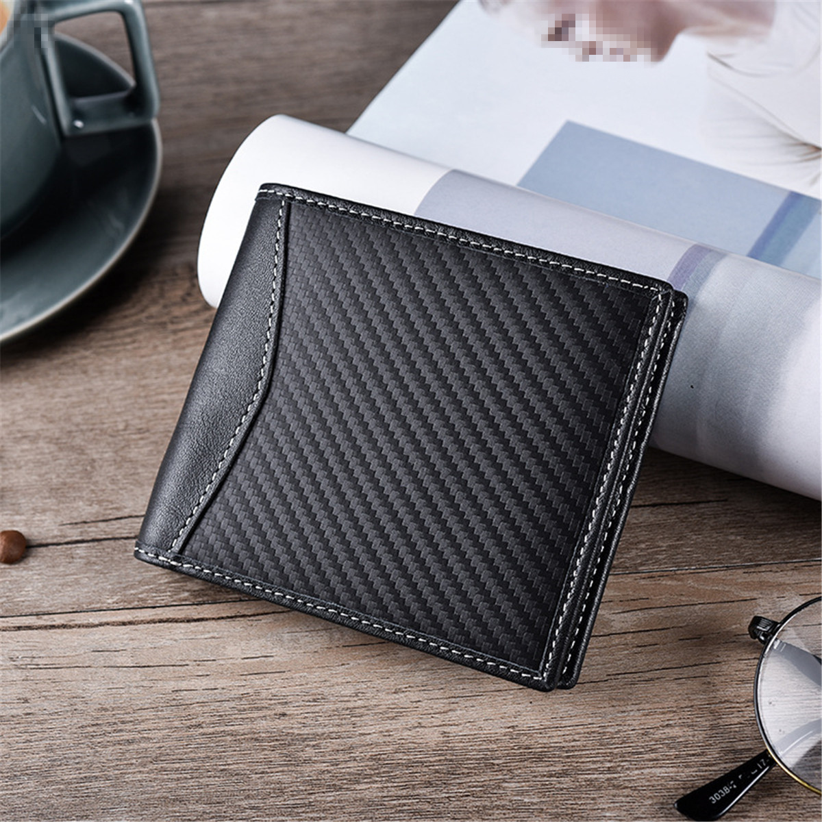JINBAOLAI Carbon Fiber Men Credit Card Holder Travel Minimalist Bifold RFID Blocking Wallet