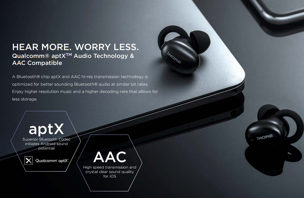 Xiaomi 1More E1026BT TWS bluetooth 5.0 Earphone HiFi Aptx AAC Bilateral Call DSP Noise Cancelling Headphone with Charging Box