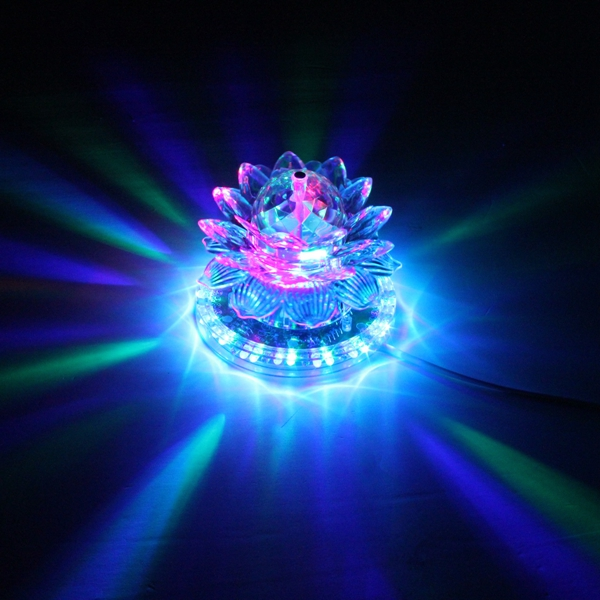 Auto Rotating 48 LED RGB Crystal Lotus Projector Stage Effect Light For Disco Club