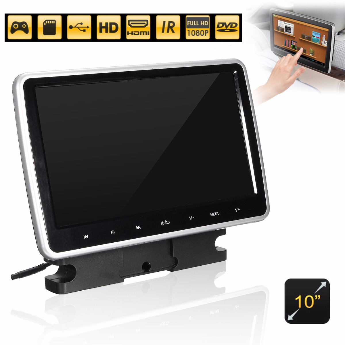 10 Inch Active HD Touch Head Rest Monitor Portable Car DVD Player Game Handle LCD