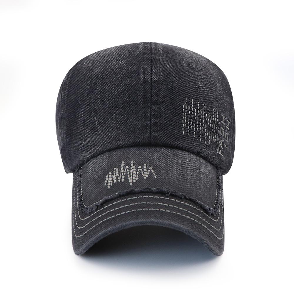 Men Outdoor Denim Washed Embroidered Baseball Cap