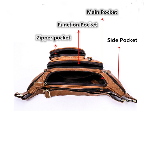 Men Genuine Leather Vintage Multi-function Large Capacity Waist Bag Outdoor Casual Crossbody Bag