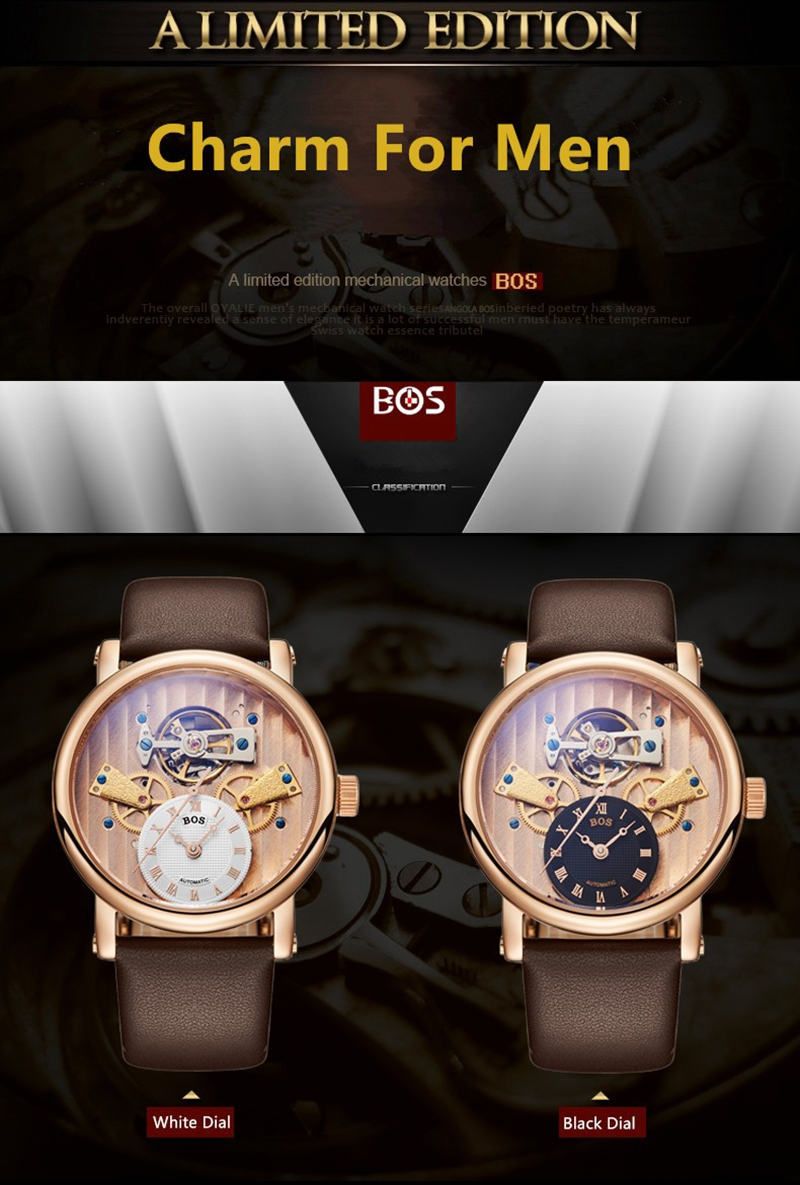 ANGELA BOS 9006 Retro Men Watches Auto Mechanical Watches Waterproof Leather Band Wrist Watches
