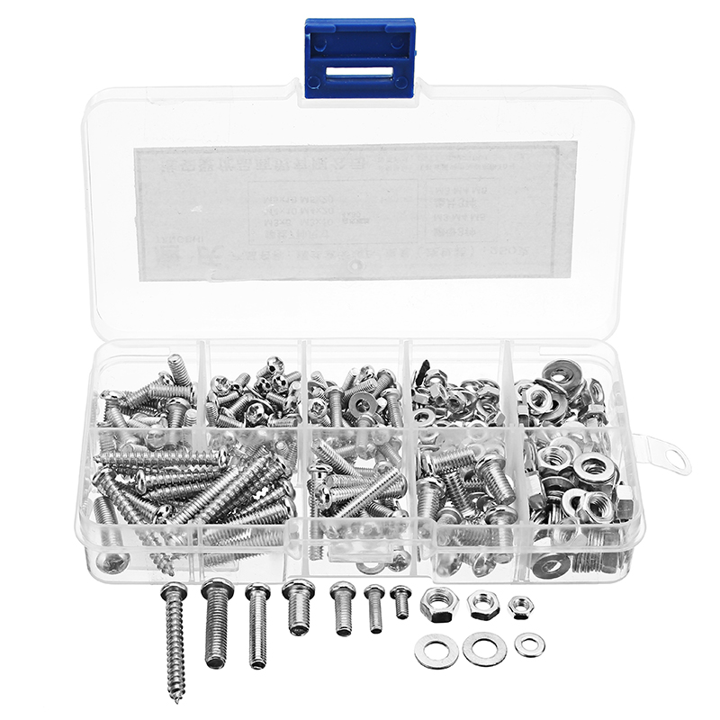 Suleve™ MXSP4 M3/M4/M5 Stainless Steel Phillips Round Head Screws Nuts Washers Assortment Kit 250g